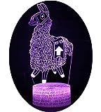Fortnite 3D Lámpara de Escritorio Win-Y LED 7 del tacto del color de la lámpara del dormitorio del hogar decoración de la oficina para los niños y regalo de Navidad de cumpleaños (Alpaca 2)