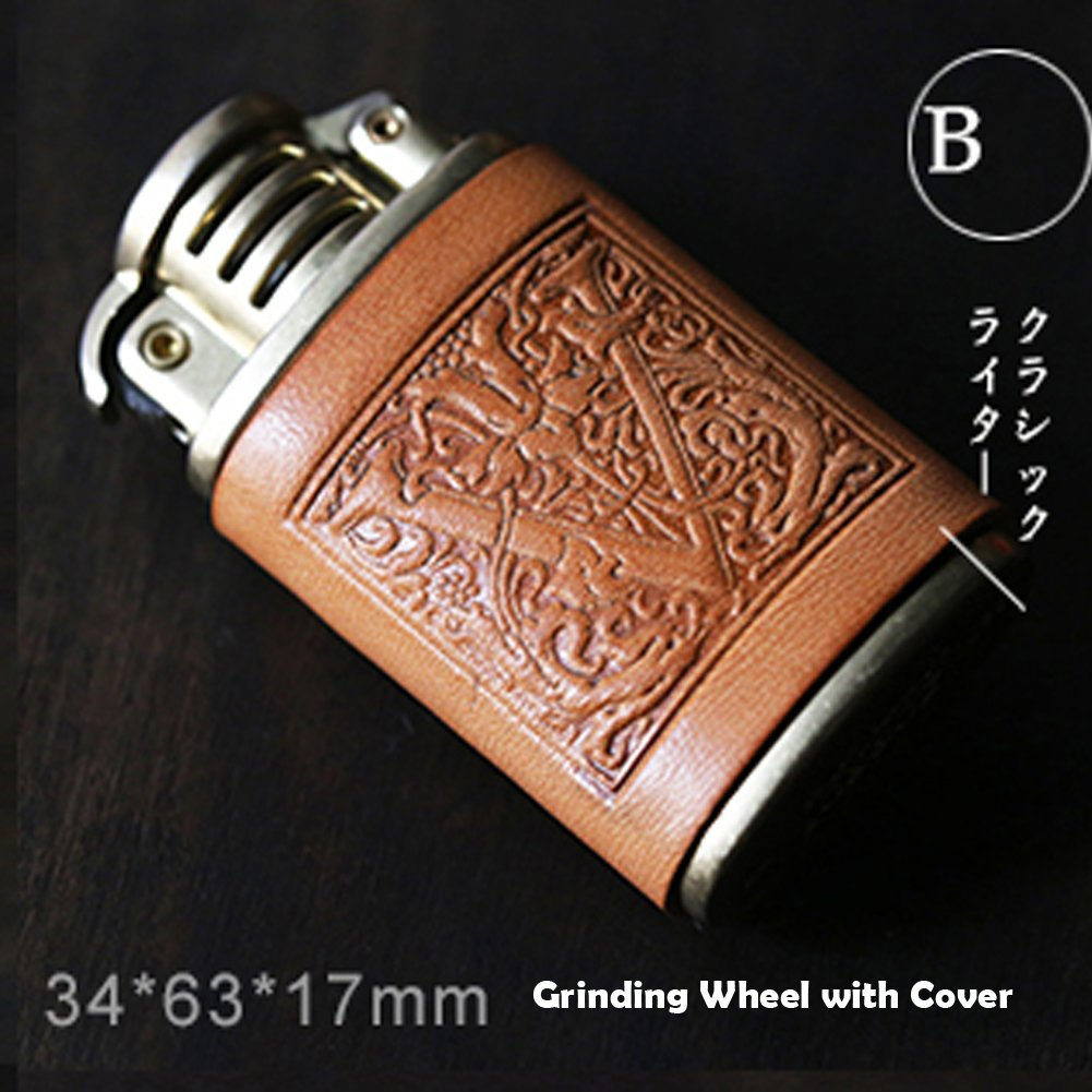Personalized gift Vintage Lighter Genuine Leather cover FREE Engraving SN-001B