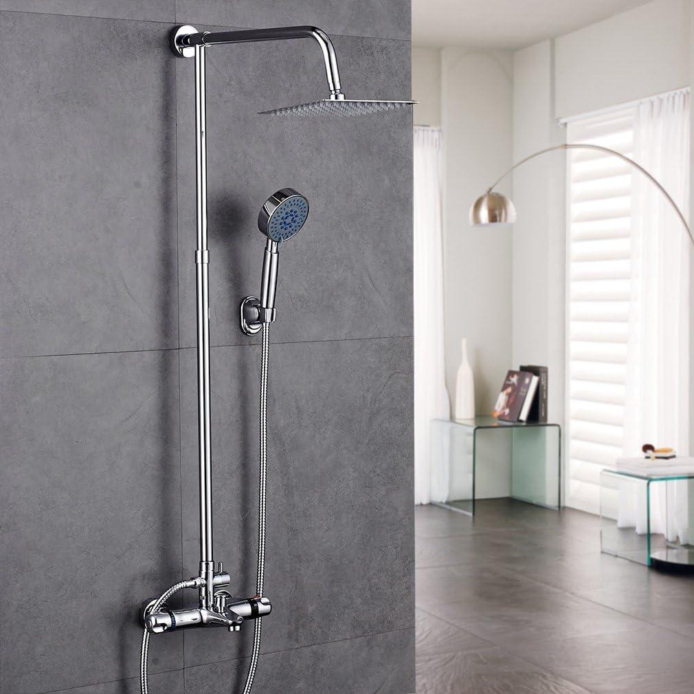 Columna ducha termostatica pared,Auralum® Set de ducha cuadrado ...