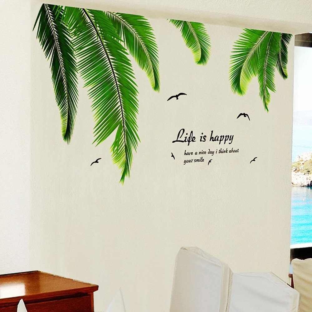 Tropical pattern wallpaper exotic removable wallpaper palm iwallsticker palm tree wall decals stickers for kids room bedroom living room home decorations amipublicfo Image collections