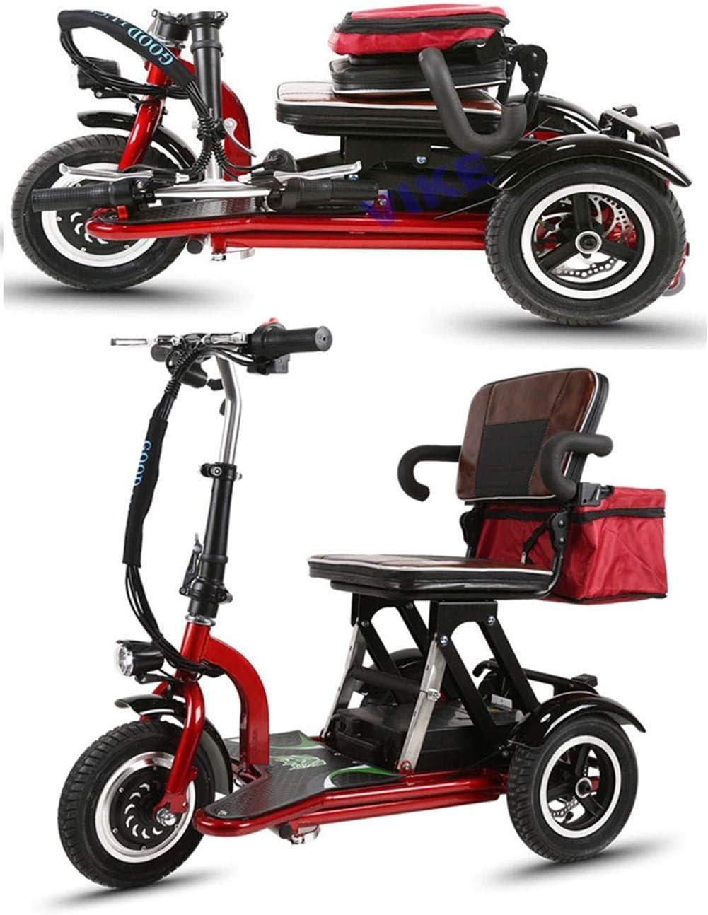 CYGGL Mini Triciclo eléctrico Plegable para Ancianos y discapacitados, Motor 350W - Peso Corporal 26KG - Carga 120KG - Kilometraje máximo 30Km-Street Legal