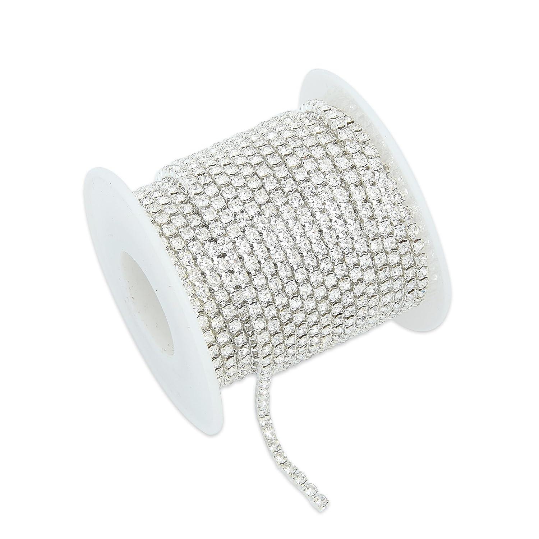 10 Meters Single Row Clear Crystal Rhinestone Close Chain Trim Sewing Craft Silver Rhinestone Size:2.0MM
