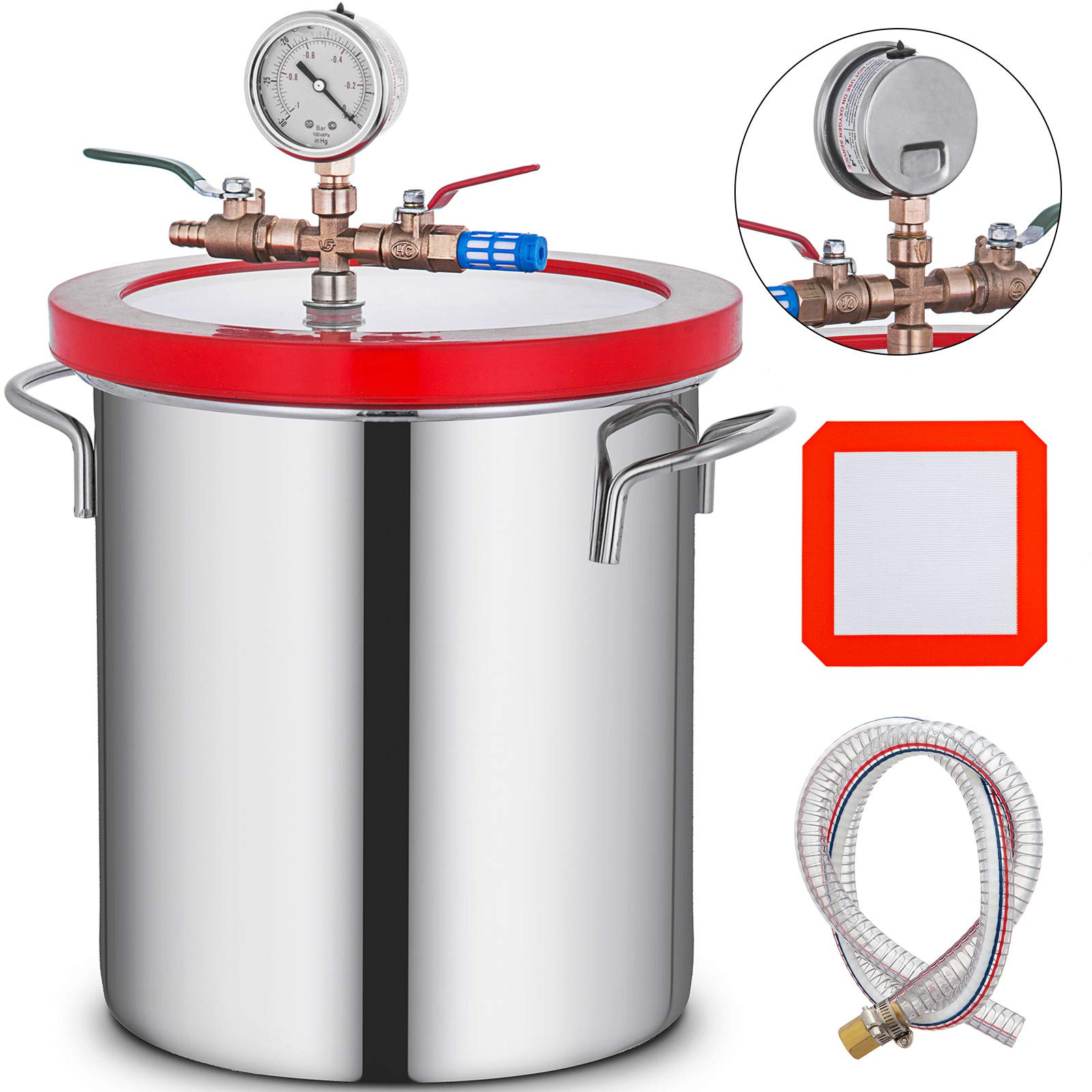 Bestauto 5 Gallon Vacuum Chamber Stainless Steel Vacuum Degassing Chamber 160F Acrylic Lid Kit by Best In Auto