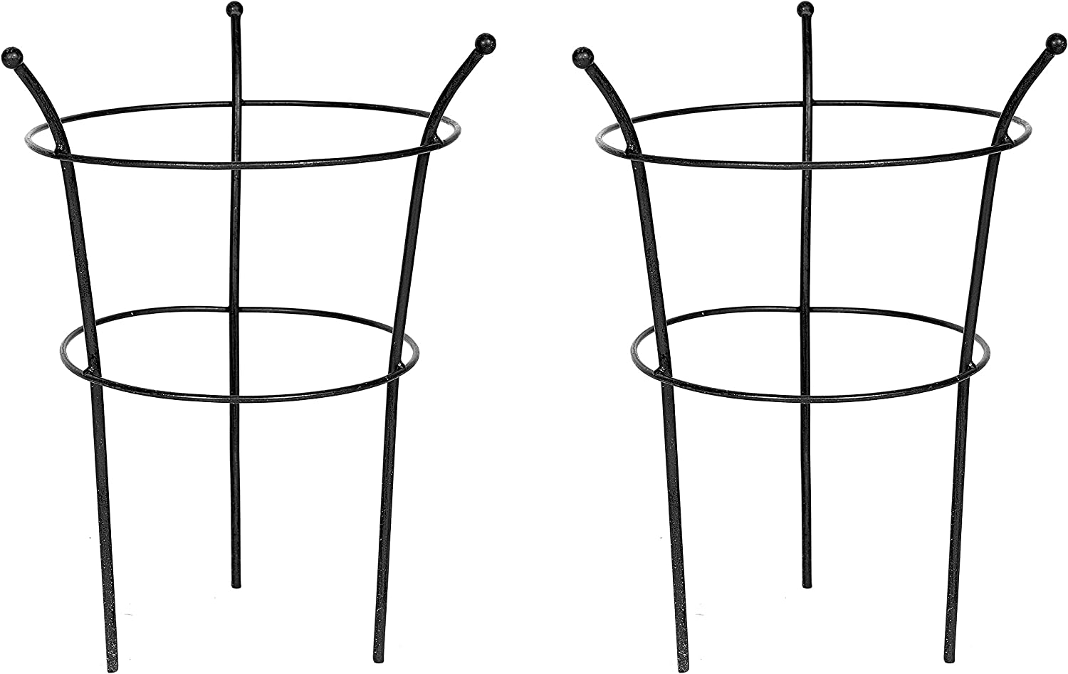 Ruddings Wood Set of 2 x Black Metal Garden Peony Herbaceous Plant Supports Cage Frame Rings 45cm high x 30cm diameter