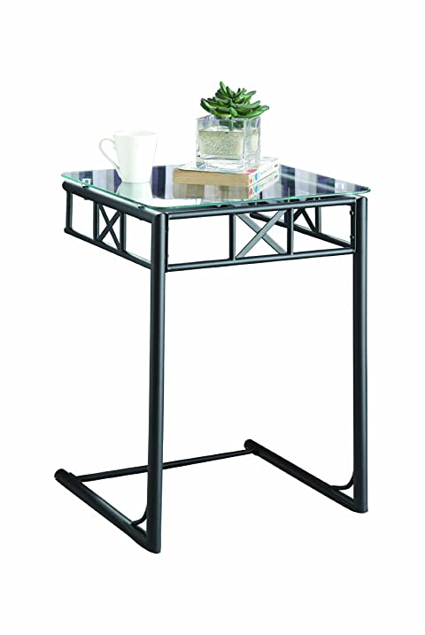 monarch metal snack table with a tempered glass top black