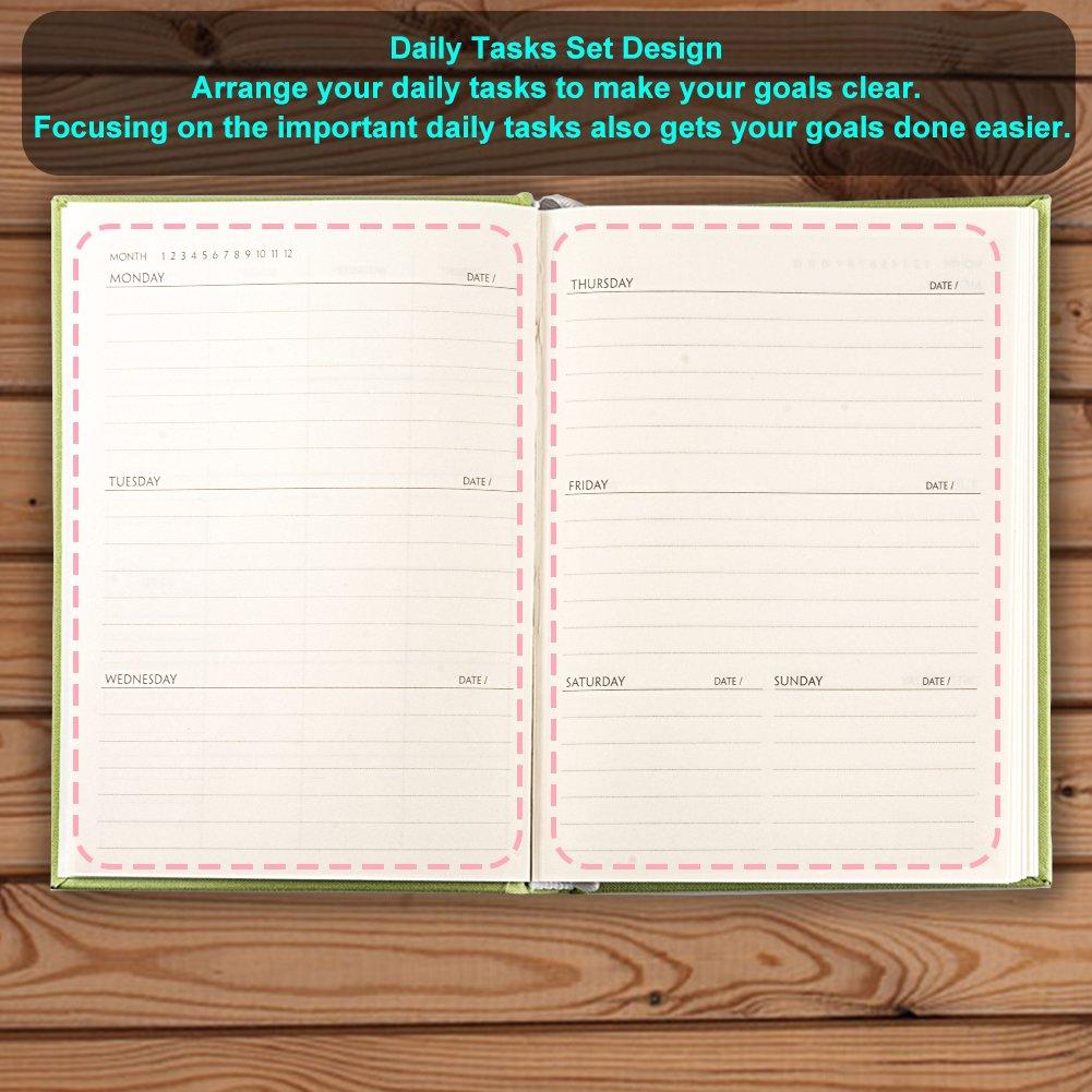 PENNX 2018 Premium Daily Planner Horario Organizador y diario Cuaderno con cubierta gruesa de lino 10.9cm x 15.2cm Horario de planificaci/ón de los cuadernos 2018 papel de escribir color crema