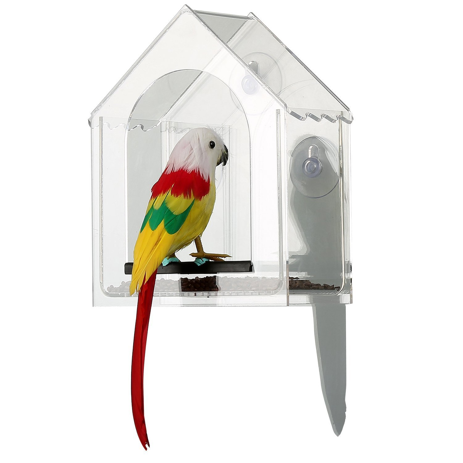 JDONOW Transparent Acrylic Proof Water House Shape Window Bird Feeder with 3 Strong Suction Cups,Drain Holes for Fun Educative Home Bird Watching