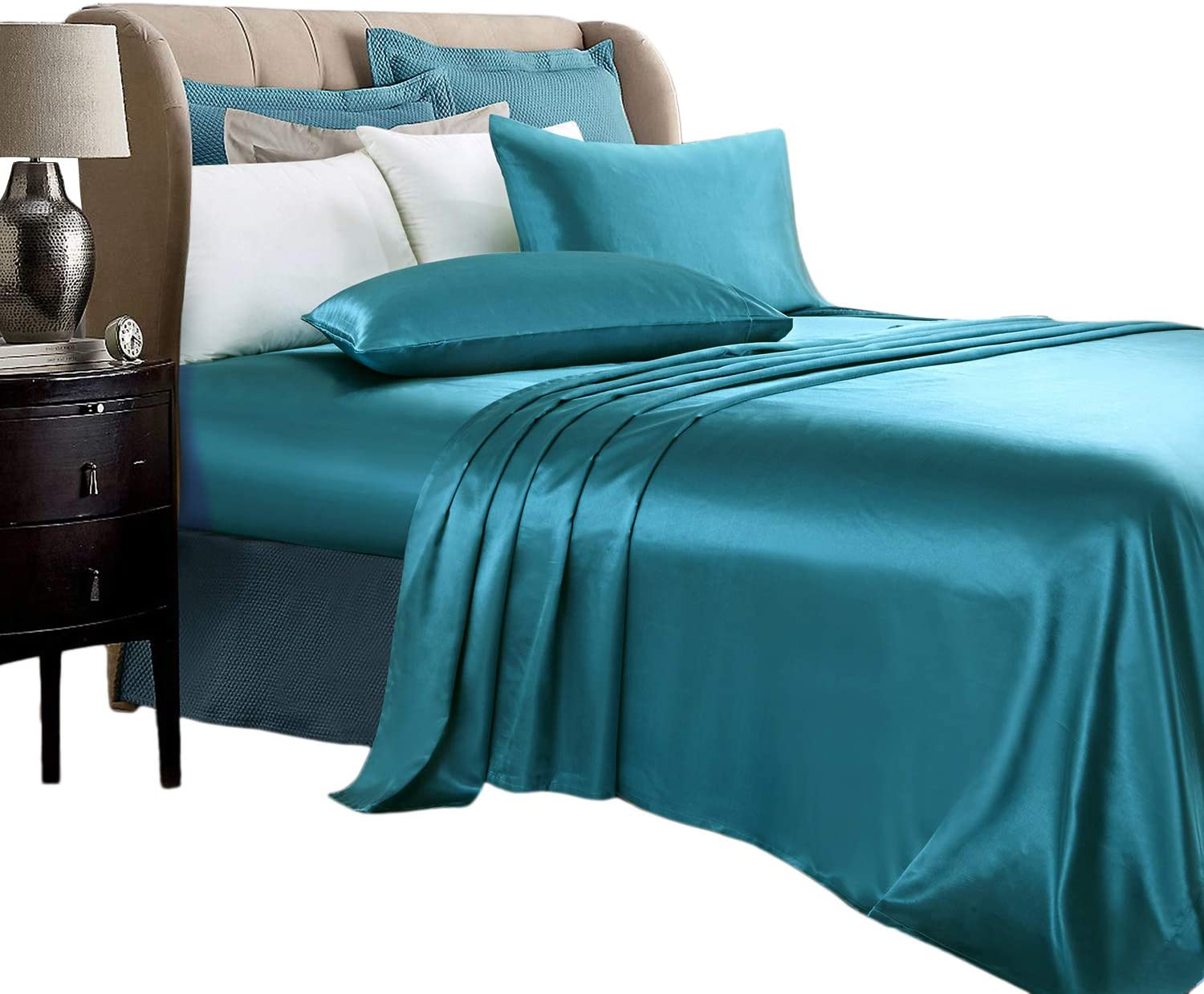 SILKY SOFT Satin 6 piece QUEEN Sheet Set BLUE Polyester NEW DEEP FITTED 17 INCH!