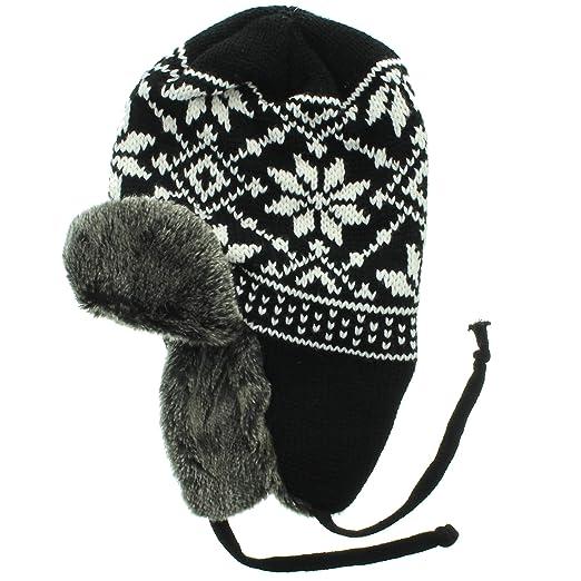 c6c7a855c Milani Aviator Trapper Style Faux Fur Lined Earflap Knit Pattern ...