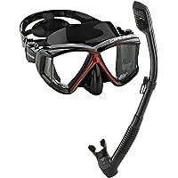 Cressi Panoramic Wide View Mask Dry Snorkel Set, Black/Red