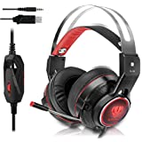 Gaming Headset for Xbox One, PS4, Surround Stereo Sound, 3.5mm Wired Over-Ear Headphone with Microphone and Volume Control for PC, Laptop, Ipad, Nintendo Switch (Red)