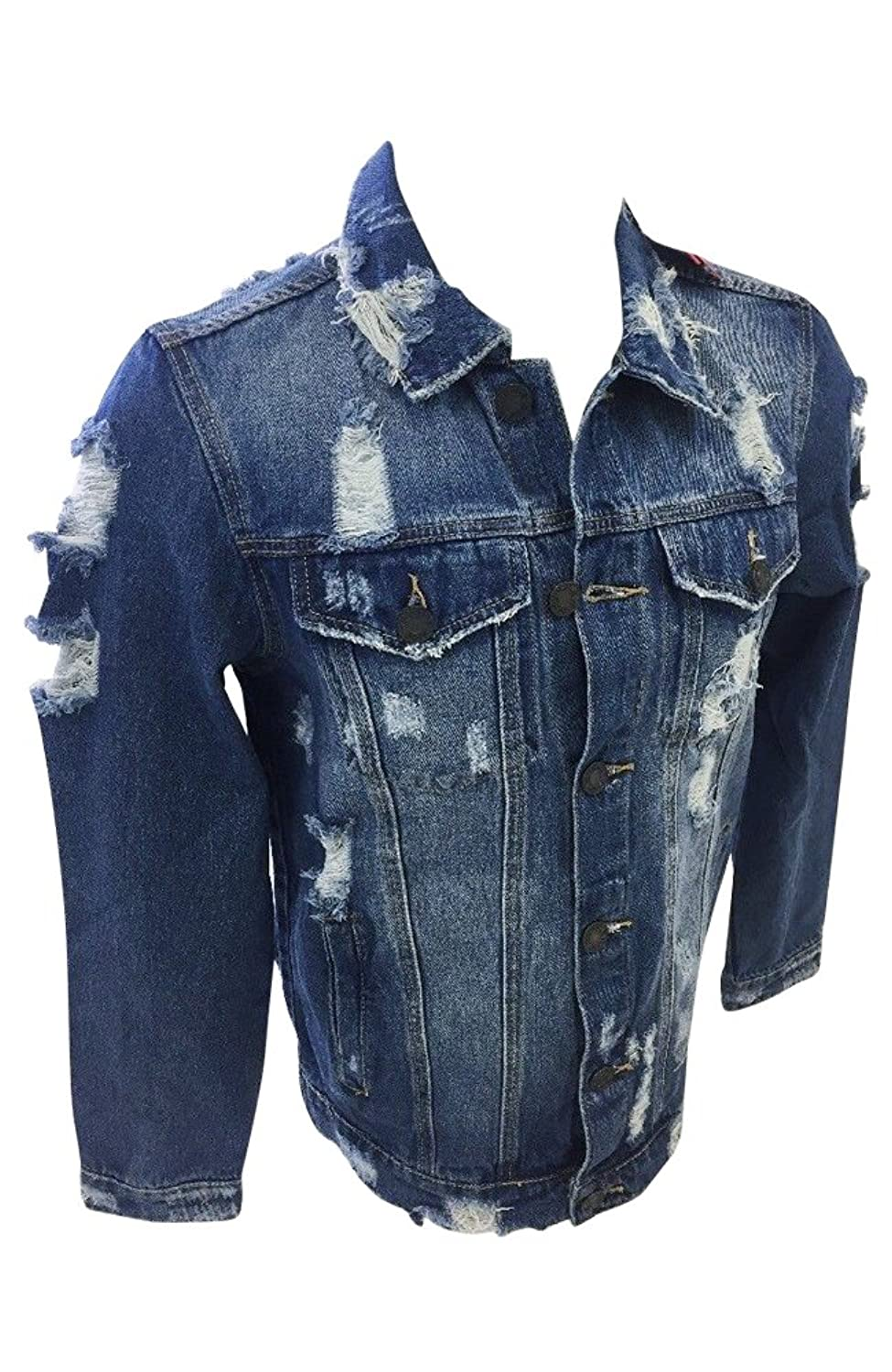 175cce83 Online Cheap wholesale Mens Victorious Denim Jean Jacket Dark Indigo Blue  Vintage Distressed Wash DK100 Denim Suppliers