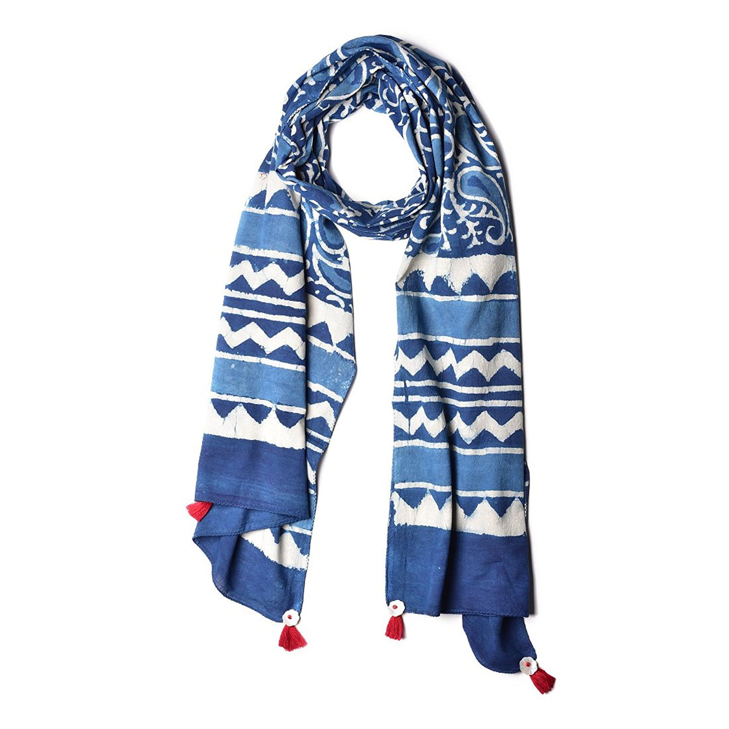 quality design 80ef0 18cb1 Uravi Women's Cotton Hand Block Printed Stole (Stole_3, Natural Indigo and  White)