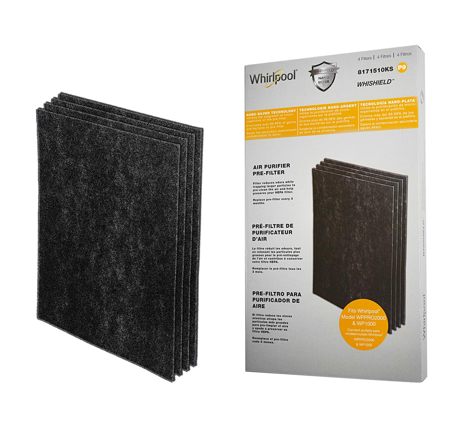Whirlpool 8171510KS Genuine Charcoal Pre-Filter - Whishield Anti-Microbial Activated - Replacement Fit for Air Purifier WP1000, WPPRO2000, Extra Large - 4 Pack