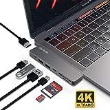 """OneOdio USB C ハブUSB Type C ハブ MacBook Pro 13""""/15"""" 2016&2017対応 4K HDMIポート USB 3.0ポート*2 Micro SD/SDカードリーダー サンダーボルト3 充電ポートドッキングステーション アルミニウム (7in1ケープル)"""