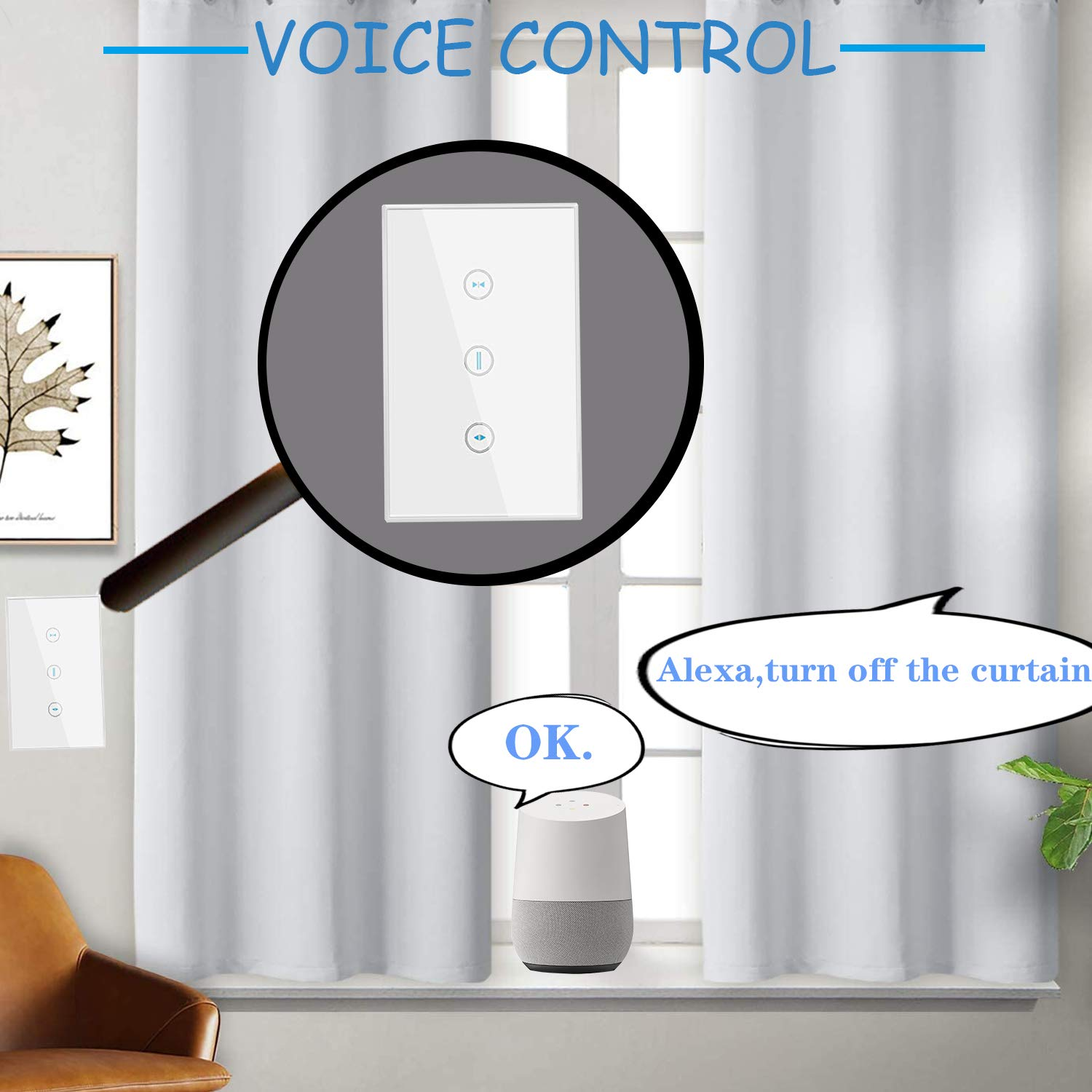 US Smart Wifi Touch Switch Compatible avec Alexa contr/ôleur Roller Shutter Switch compatible avec iOS//Android // Google Home WiFi Curtain Switch Echo