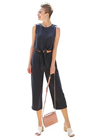 bbf14df4a10 Image Unavailable. Image not available for. Color  VOA Women s Navy Blue Scoop  Neck Sleeveless Silk Jumpsuit K5871