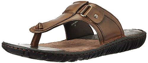 7687cc9c6934 Hush Puppies Men s Harlet Thong Brown Leather Flip Flops Thong Sandals - 10  UK India