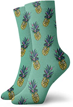 Adult Pineapples Summer Pattern Athletic Crew Socks