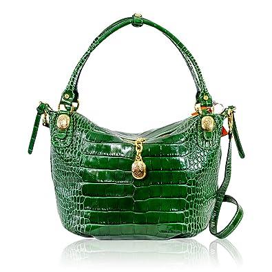d180fae960bc Marino Orlandi Italian Designer Emerald Green Croc Embossed Leather Purse  Crossbody Bag  Handbags  Amazon.com