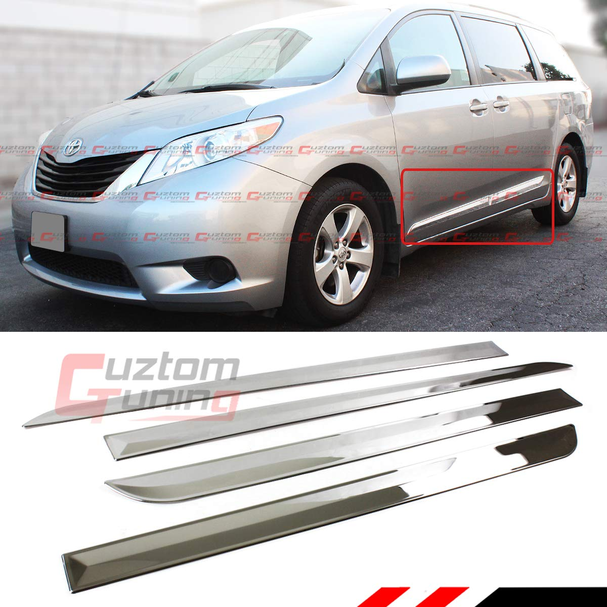 Cuztom Tuning Fits for:2011-2017 Toyota Sienna LE XLE Polished Chrome Finish Stainless Steel Side Body MOLDING Moulding Trim KIT Cuztom_Tuning