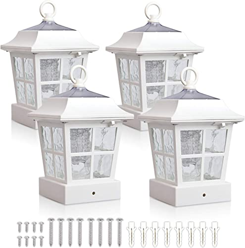 KMC LIGHTING Post Solar lights Solar Deck Lights Solar Post Cap Lights Solar Fence Lights 15 LUMENS KT130QFX4W fit for 3.7X3.7 regular Fence Posts or with included adaptor fit for bigger flat surface