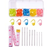 9 Pieces Large Eye Blunt Sewing Needles with 60 Pieces Lock Markers and Cloth Tape Measure