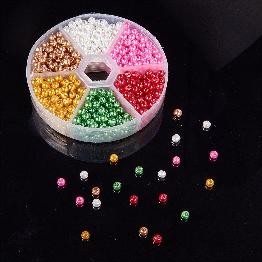 Foro: 1mm Colore Misto 4mm di Diametro circa 810pcs//Scatola PandaHall 1 Scatola 810PCS 4mm Perline di Vetro Perla Rotonde per Bigiotteria