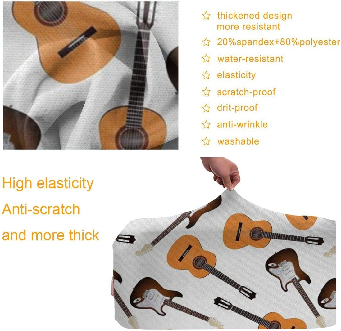 JHNDKJS Realistic Illustration Classic and Electric Instruments Entertainment Travel Luggage Cover Baggage Suitcase Protector Fit for 12-18 Inch Luggage