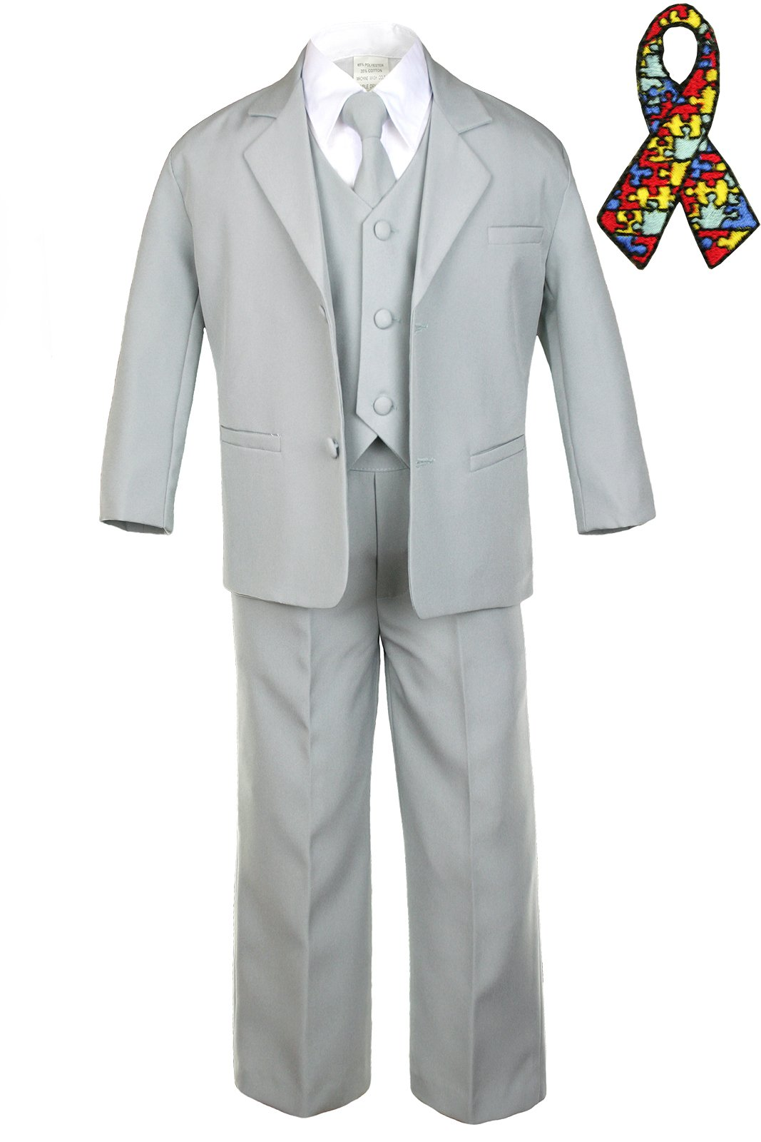 5pc Baby Boy Teen GRAY SUIT Autism Awareness Puzzle Ribbon Adhesive Patch (3T, Gray suit set Only)