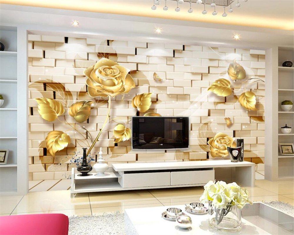 350X260Cm, Wallpaper Home Decorative Mural Wall Gold Relief Rose Brick Wall Tv Background Wall Mural Photo 3D Wallpaper,By ZLJTYN B07F36T7JM 350X260CM