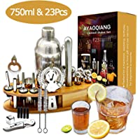 AYAOQINAG Cocktail Mixing Set, 23 stuks Cocktail Shaker Set voor Bartender, 750ml RVS Bar Tool Kit met Houten Display Stand, Keuken en Bar Cocktail Making Set