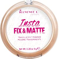 Rimmel London Insta Fix & Matte Pressed Face Powder, Control Shine Formula with Instant Retouch and Matte Finish, Translucent, 8 g