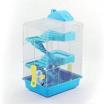 Pet Online Hamster jaula de lujo de tres pisos hamster más castillo alto con el juguete, azul: Amazon.es: Productos para mascotas