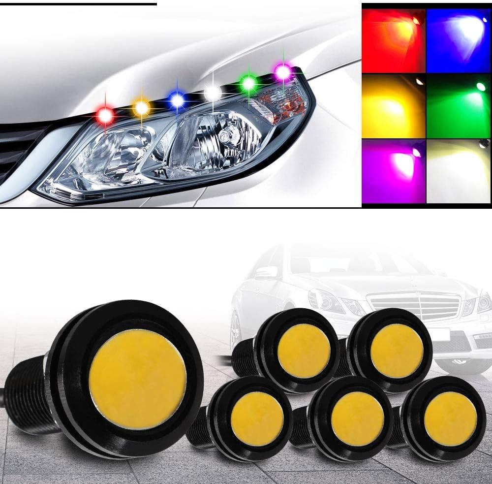 High Power Auto Car Eagle Eye Waterproof LED Daytime Running light DRL COB Amber