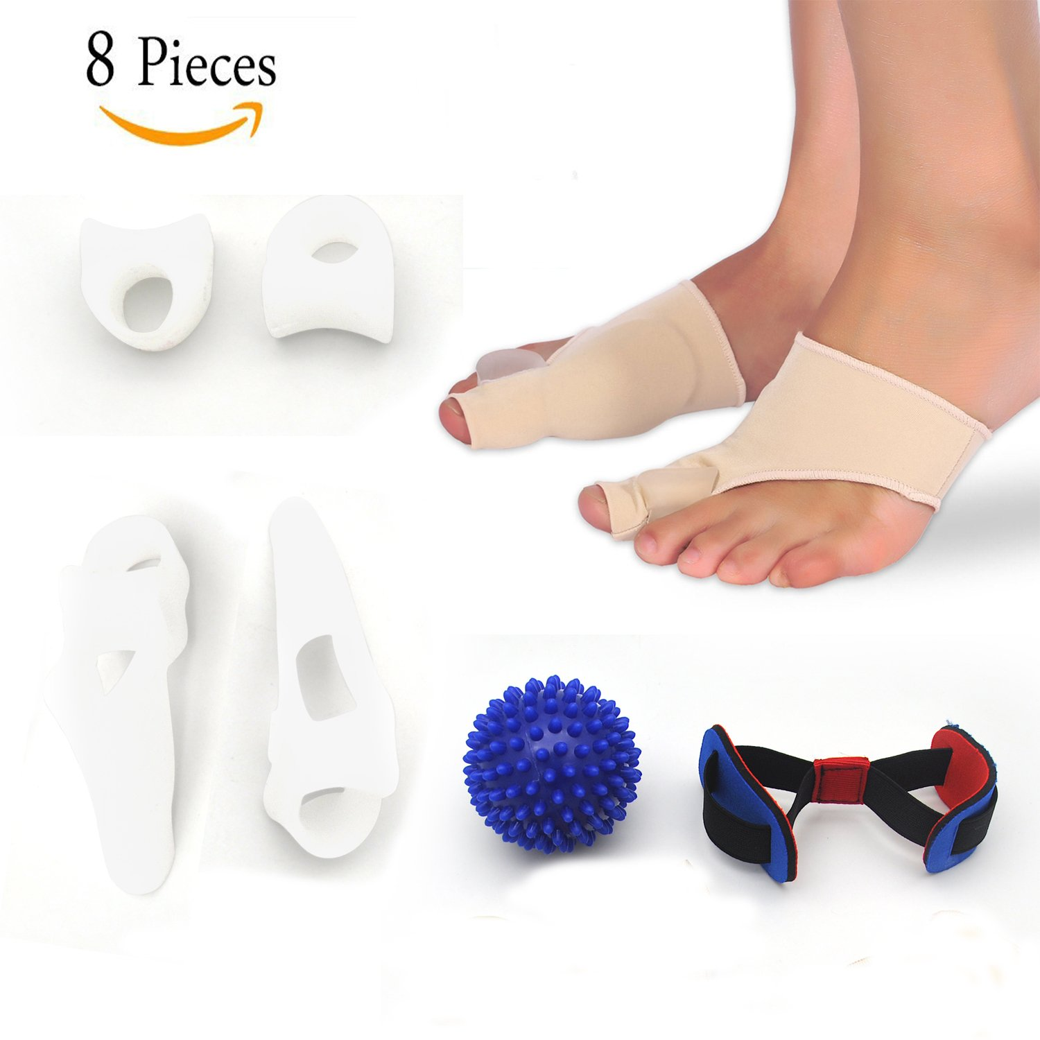 Bunion Corrector Pads Kit Bunion Protector Toe Spreader Bunion Relief Socks Sleeves Toe Stretcher & Separator,Foot Massage Ball for Tailors Bunion,Hallux Valgus,Overlapping Toes,Big Toe Joint