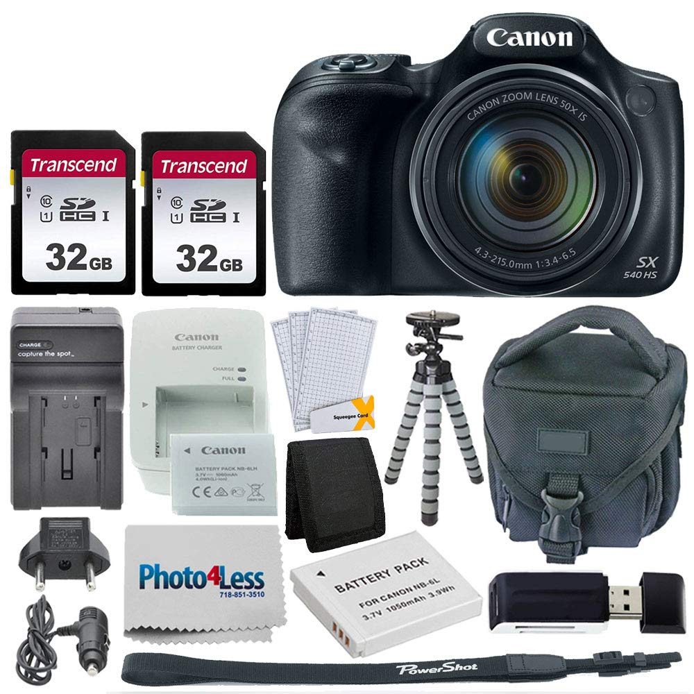 Canon PowerShot SX540 HS Digital Camera + 2x 32GB Memory Card + Camera Bag + Flexible Tripod + Replacement Battery & Travel Charger + USB Card Reader + Screen Protectors + Cleaning Cloth + Accessories by Photo4Less