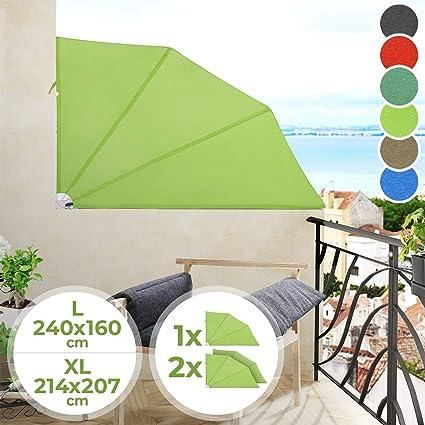Sichtschutz Balkonfächer Markise Balkonmarkise Seitenmarkise Grün 240//160 cm
