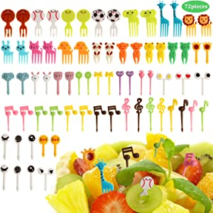 72 Pieces Fruit Food Fork Cute Animals Fork Picks Lunch Box Pick Cartoon Plastic Toothpick Football Baseball Food Picks for Bento Sandwich Box Decor Party Supplies