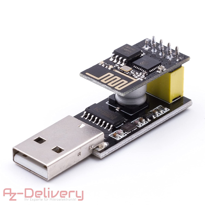 AZDelivery ⭐⭐⭐⭐⭐ ESP8266 ESP-01 m/ódulo WiFi con Adaptador de rel/é para Arduino con ebook Gratis!