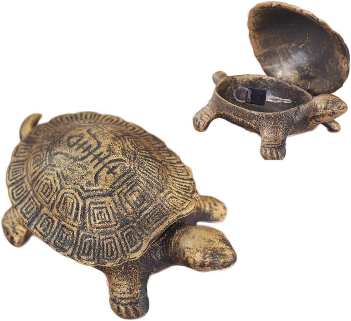 Greek Art Garden Decoration Turtle Cast Iron Key Hider Stone Diversion Safe Key Outside Hider Hide-A-Key Holder Safely Hiding Your Spare Keys for Outdoor Garden or Yard, Geocaching