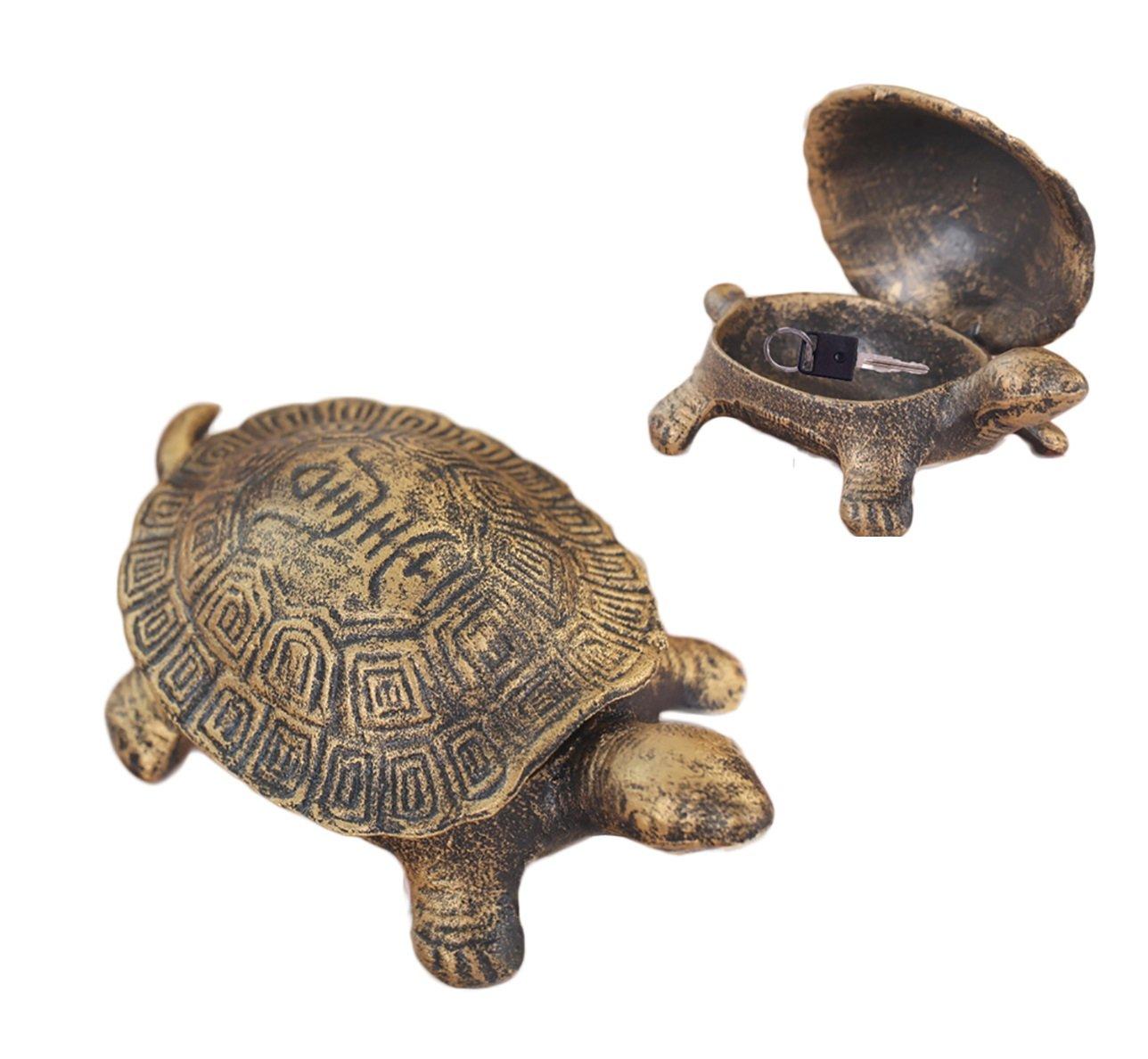 Greekアートガーデン装飾Turtle Cast IronキーセーフキーHiderストーンDiversion外側Hider hide-a-keyホルダー安全にスペアキー非表示に屋外の庭やYard , Geocaching S B0788FJBZQ Turtle B Turtle B
