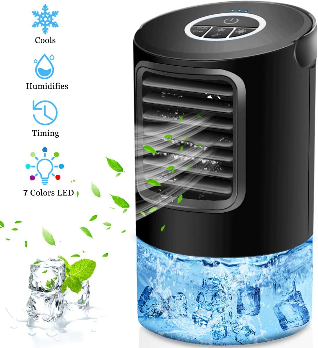 OVPPH Portable Air Conditioner, Personal Air Cooler Fan Desk Fan Space Mini Table Fan Air Circulator Ultra-Quiet Cooling Fan with Handle and 7 Colors LED Lights for Home