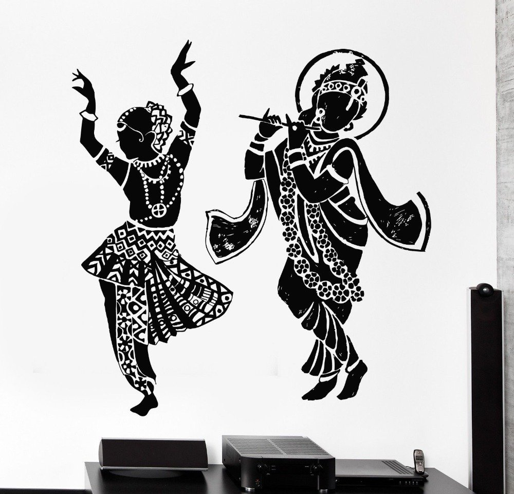 Wall stickers radha krishna - Buy Asmi Collections Large Pvc Wall Stickers Dancing God Radha Krishna Online At Low Prices In India Amazon In
