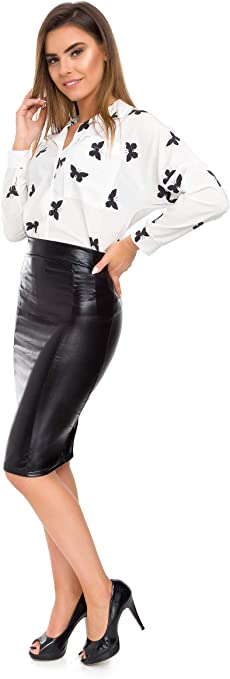 Womens Faux Leather Knee Length Pencil Skirt Eco Leather High Waisted Style FS09