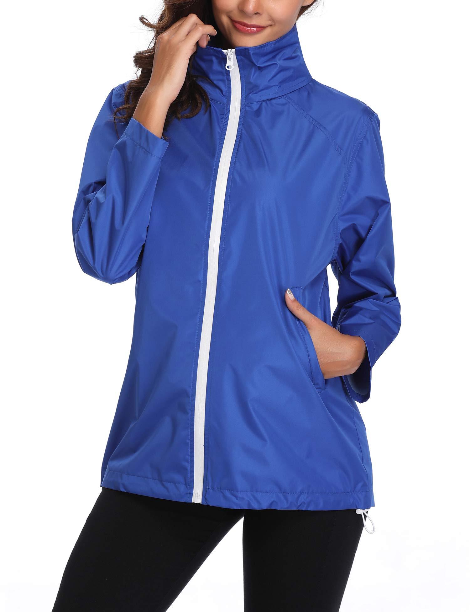 Women's Lightweight Casual Jackets Waterproof Packable Bomber Rain Jacket Softshell Casual Sportswear Blue XXL