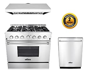 "Thor Kitchen 3-Piece Kitchen Package with HRG3618U 36"" Pro Style 6 Burner Stainless Steel Gas Range, HRH3606U 36"" Under Cabinet Range Hood Stainless Steel and HDW2401SS 24"" Dishwasher Stainless Steel"