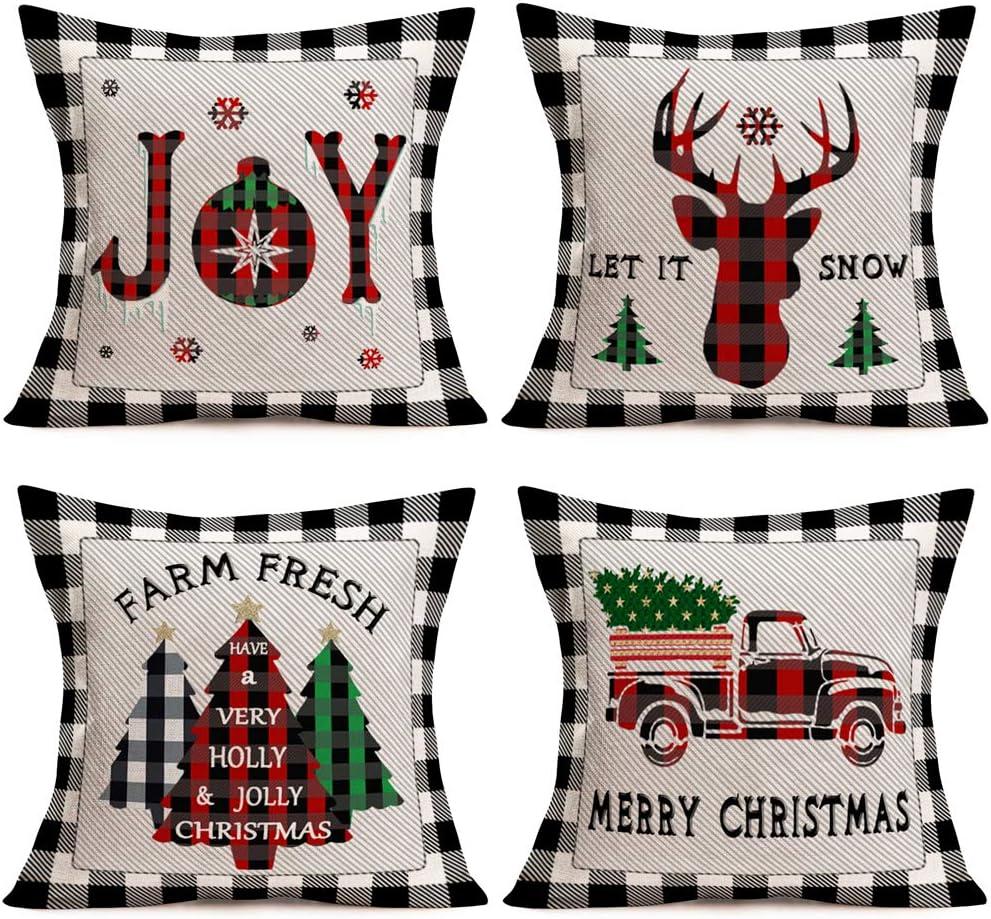 Easternproject Buffalo Plaid Pillow Cover 18x18 Inch Set of 4 Christmas Farmhouse Decor Throw Pillow Cases Retro Truck Joy Tree Deer Cushion Cover 18x18 Inch Xmas Decoration