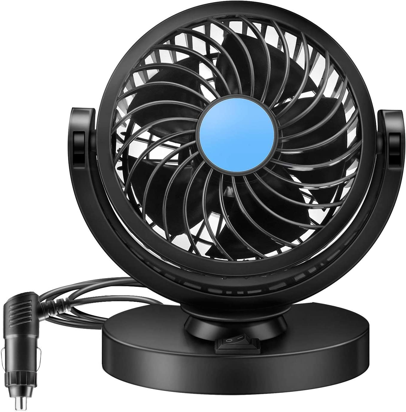 Welltop 12V Mini Car Electric Fan 360 Rotating Strong Wind Car Fan Car Air Conditioner Low Noise Portable Auto Air Cooling Fan