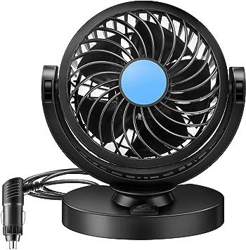 a basso rumore Flyproshop rotazione a 360/° vento forte Mini ventilatore elettrico per auto 12 V